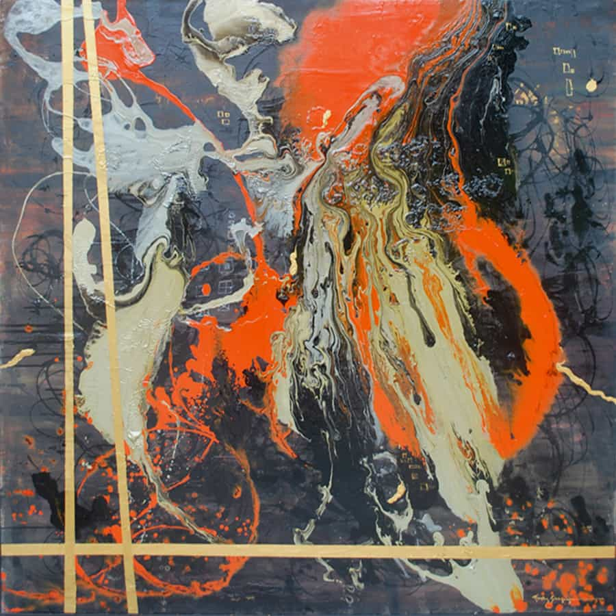 Ayesha Sidduiqui Abstract Paintings 60 x 60 Clifton Art Gallery