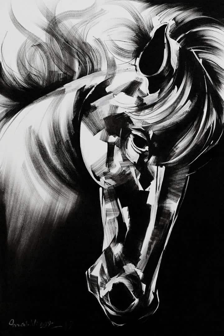 Mashkoor Raza Wild Horse Painting Panel