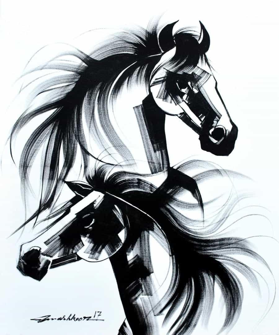 Mashkoor Raza Wild Horse Pair Painting