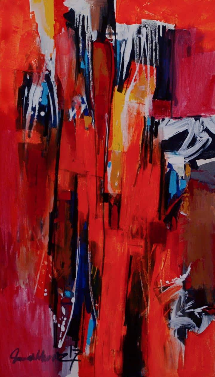 Mashkoor Raza Orange Abstract Painting