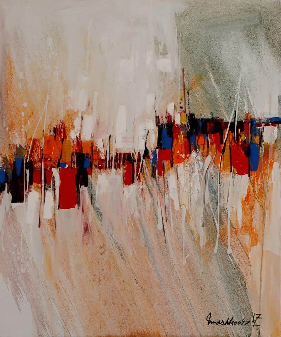Mashkoor Raza White Abstract Painting