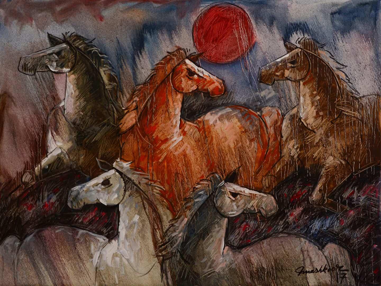Mashkoor Raza Wild Horses Painting