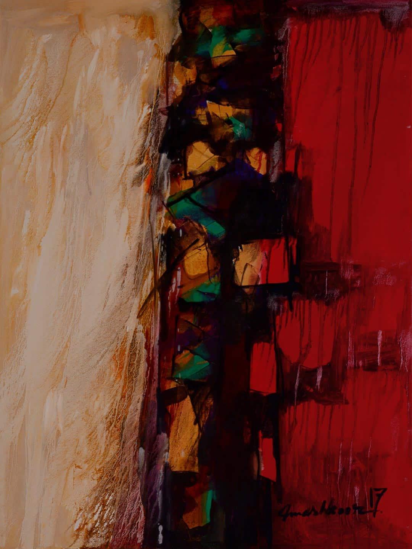 Mashkoor Raza Abstract Red Painting