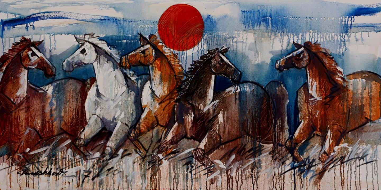 Mashkoor Raza Wild Horse Painting