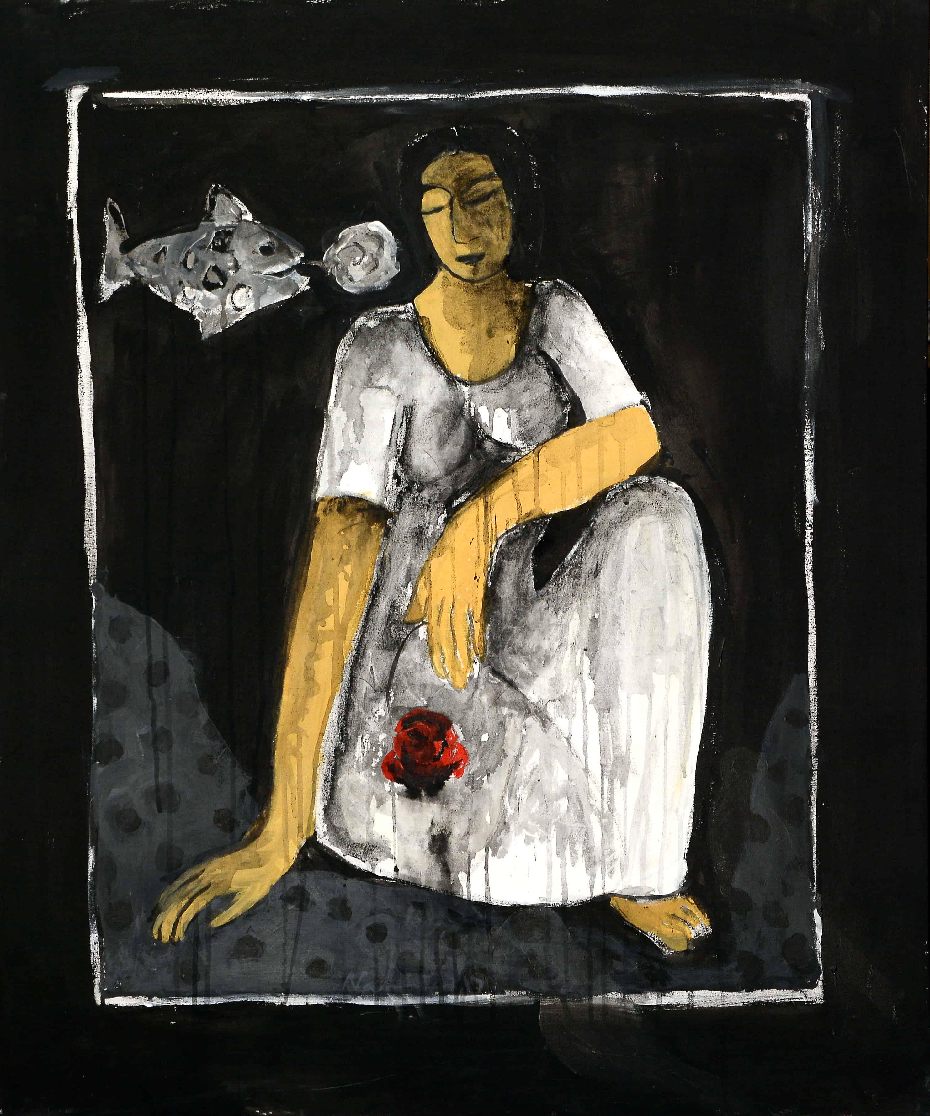 Acrylic Painting by Pakistani Artist Nahid Raza Size 30 x 36