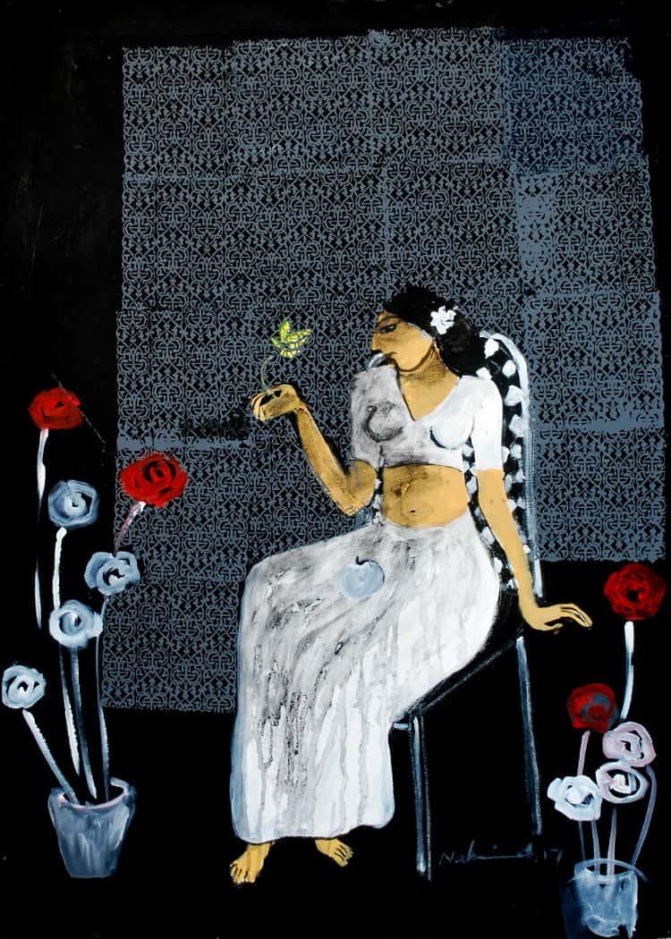 Acrylic Painting by Pakistani Artist Nahid Raza Size 30 x 42