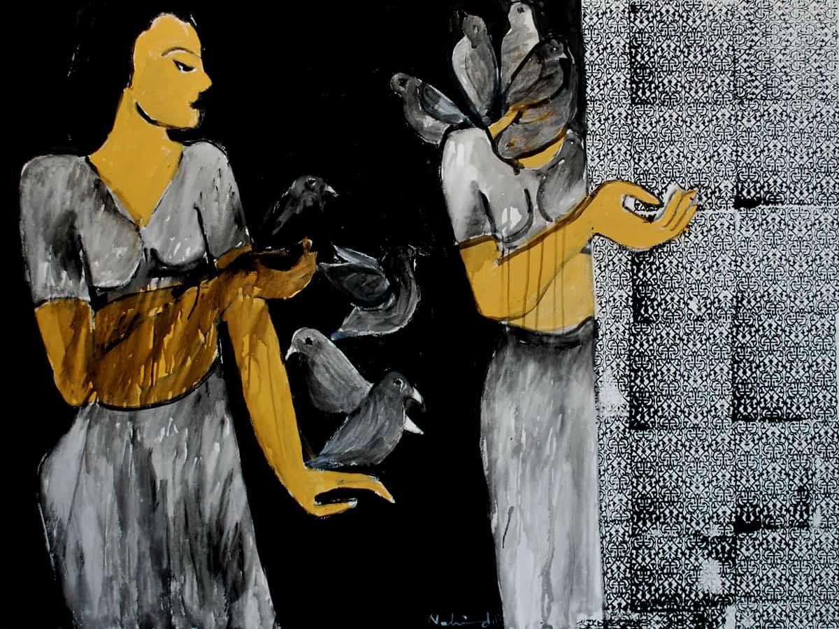 Acrylic Painting on Canvas by Nahid Raza Size: 30 x 42