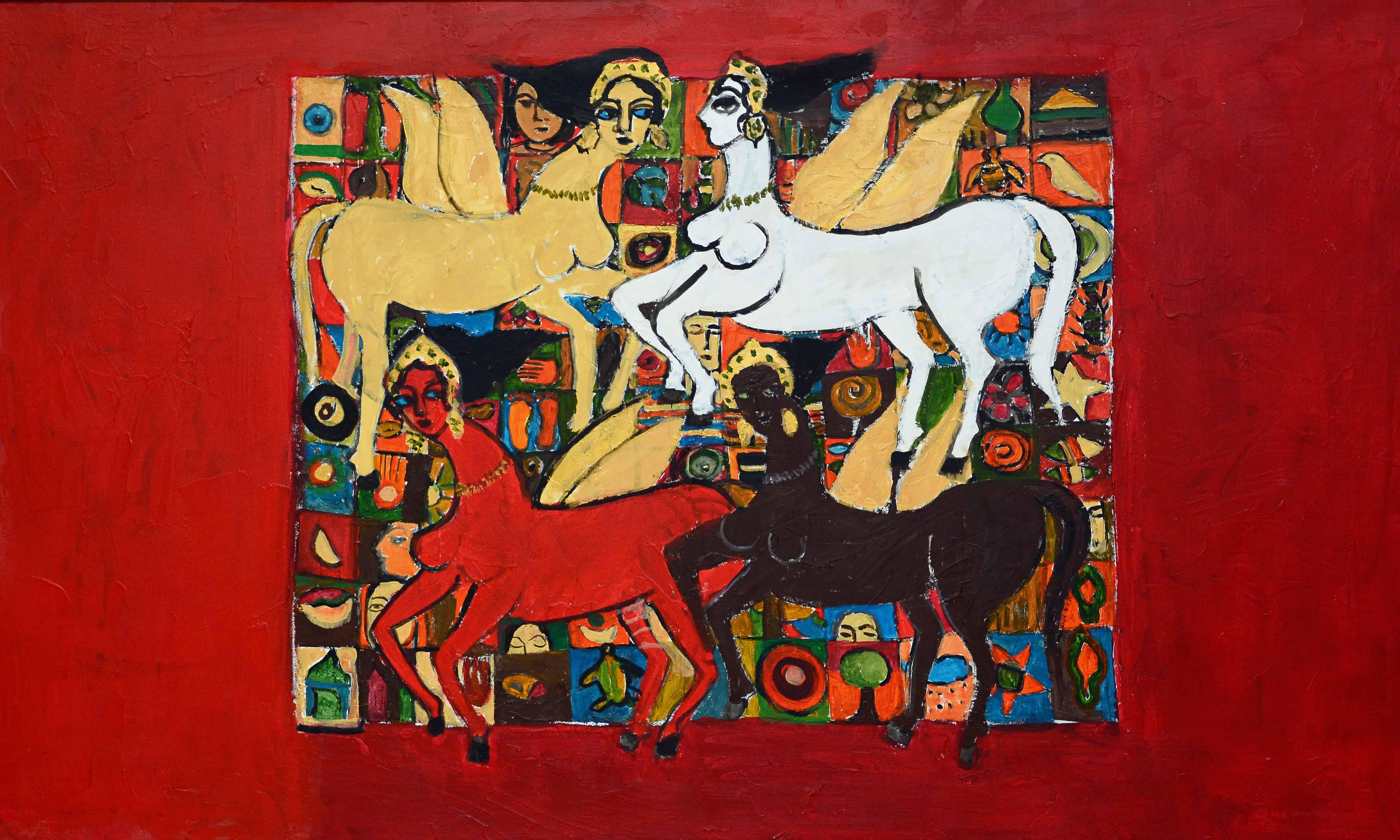 Acrylic Painting by Pakistani Artist Nahid Raza Size 36 x 60